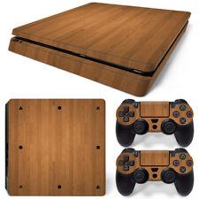Wood Grain PlayStation 4 PS4 Slim Skin Vinyl Sticker Console &2 Controllers