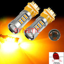 2x 3157SRCK Socket 2835 Chip 27-LED Amber Yellow Turn Signal Blinker Light Bulbs