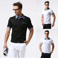 Men's Tops Denim Lapel Tee Shirts Slim Fit Short Sleeve Casual T-Shirts