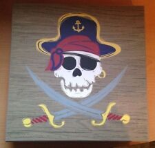 Jolly Roger Skull & Crossbones Pirate Wall Sign Square Wood Wooden Creatology