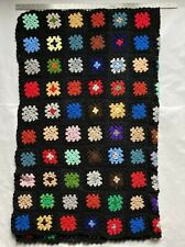"Vintage Granny Square Afghan Throw Blanket Afgan 66""x47"" Hand Made"