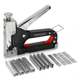 Vinsani Heavy Duty Stainless Steel Metal Staple Tacker Gun with Staples