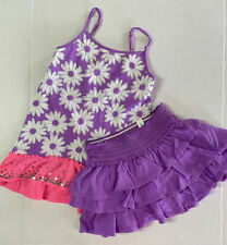 New Justice 6 Girls Violet Tiered Skirt Flower Tank Set Lot Purple