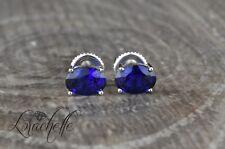 2.0 ct Oval Cut Blue Sapphire Screw Back Earring Studs 14K White Gold