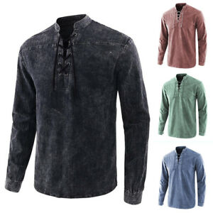 Mens Medieval Pirate Lace Up T-shirt Victorian Top Shirt Distressed Gothic