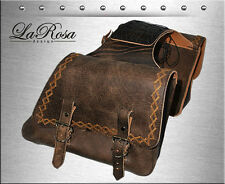 La Rosa Rustic Brown Leather Harley Sportster XL Throw Over Lace Saddlebags Set