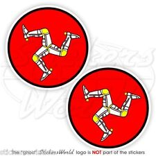 "Isle of Man Tt Races Uk Manx Triskelion 75mm(3"") Bike-Helmet Stickers, Decals x2"