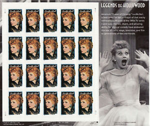 LUCILLE BALL STAMP SHEET -- USA #3523 34 CENT 2001 LEGENDS OF HOLLYWOOD