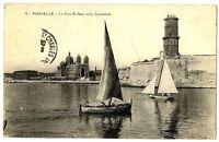 CPA 13 Bouche-du-Rhône Marseille Le Fort Saint-Jean et la Cathedrale animé