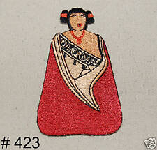 1PC~FOLK ART DOLL~IRON ON EMBROIDERED APPLIQUE PATCH