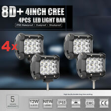 4X 4INCH 144W CREE LED LIGHT BAR SPOT OFFROAD WORK FOG PODS LAMP DRIVING 4WD ATV