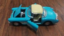 Schilling Die Cast Corvette 1957 Toy Model car teal pull back motor metal