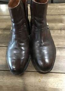 Allen Edmonds Ostendo Brown Leather Buckle Ankle Boots Mens Size 9 EEE