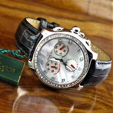 New Womens Adee Kaye Swarovski Crystal Chronograph Watch Mother of Pearl Dial