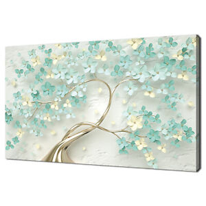 ABSTRACT TEAL GOLD BLOSSOM TREE FLOWERS MODERN CANVAS PRINT WALL ART PICTURE