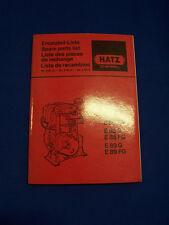 Original Ersatzteilliste Hatz Diesel E85, E89 - Rarität