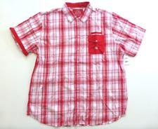Parish Nation Mens Size 4xl Crimson Red Plaid Solid Pocket Button Shirt