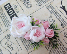 Flower Hair Clip wedding HANDCRAFTED polymer clay white rose Hair Clip HANDMADE