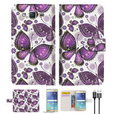 Purple Butterlfy Wallet Case Cover for Samsung Galaxy J2- A017