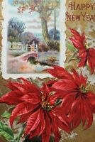 Vintage Winsch Christmas Postcard-A Happy New Year-Red Poinsettia-Fence Bridge