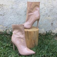 Nude Patent Leather Steve Madden Stiletto Ankle Booties Wagner Size 7.5 $129.95