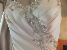 Wedding Dress Ivory Mori Lee Madeline Gardner Corset Tie Back Bead Detail SZ 10