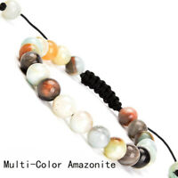 Handmade 8mm natural Multi-Color Amazonite gemstone beads adjustable bracelet