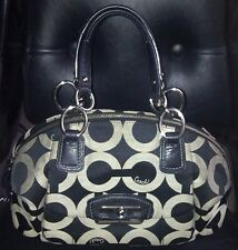 Authentic COACH KRISTIN OP ART DOMED SATCHEL BAG PURSE 19329 BLACK $298