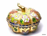 Antique Chinese Cloisonne Brass Enameled Lidded Jewelry Box Trinket