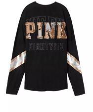 Victorias Secret PINK Bling Long Sleeve Campus Varsity Crew Tee T-Shirt Large