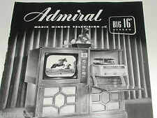 1949 ADMIRAL Television advertisement, 16 inch B&W TV record player console