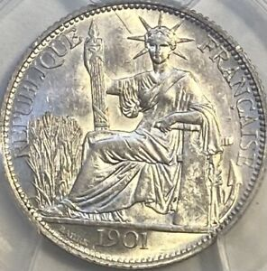 French Indo-China Silver 1901-A 20 Cents Centimes PCGS AU58 Cartwheel Luster!