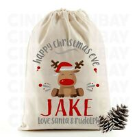 Christmas Eve Santa Sack Gift Bag | Cute Reindeer | Personalised