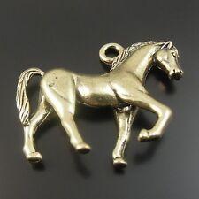 6X Vintage Style Bronze Tone Handsome Horse Pendant Necklace 33*27*7mm