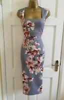 Womens Women's Grey Floral Print Midi Party Bodycon Pencil Dress Size 8 - 16