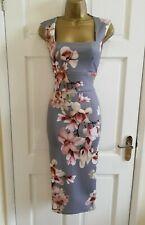 Brand New Women's Grey Floral Print Midi Party Bodycon Pencil Dress Size 8 - 16