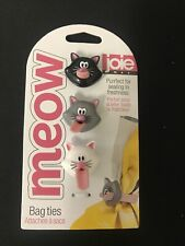 Cat Joie MEOW Bag Ties - 3 Cute Cats! -  Many Uses  - SUPER CUTE!! New On Card