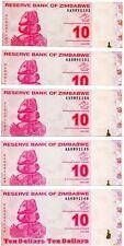 LOT Zimbabwe, 5 x $10, 2009, Pick 94, AA-prefix, UNC