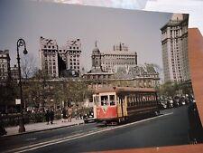1947 New York City NYC TARS Trolley Transit City Hall Color 8x12 Photo