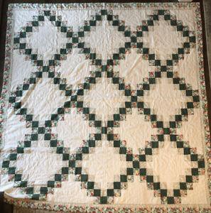 "Vintage Handmade Quilt BIG - 86"" X 82"" Double Irish Chain Pattern VERY CLEAN!"