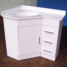 600 x 900 Bathroom Corner Vanity on Kickboard & Polymarble Basin - Right Drawers