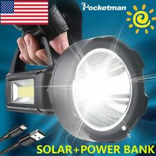 80000lm Solar Flashlight LED Spotlight USB Rechargeable Floodlight Searchlight