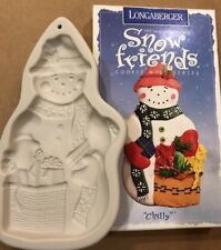 1997 Longaberger Pottery Cookie Mold (Ornament) Snow Friends, Snowman Chilly