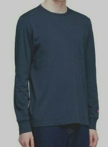 Albam Utility Navy Blue Long Sleeved T Shirt One front Pocket Size M