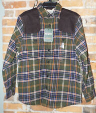 Field & Stream Sherpa Lined Flannel Shirt / Jacket New Olive, Plaid Size S NWT