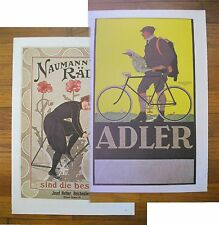 "1973 PRINT/POSTER/AD~1905 NAUMANN BICYCLES~1910 ADLER TIRES~16""x11"""