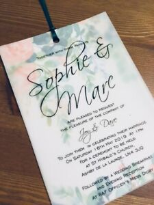 NEW C6 Vellum wedding invitations! Fully personalised, any colour x 25