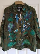 "Indigo Moon Jacket Size XS Green Tapestry Beaded flowers -  STUNNING - 40"" Bust"