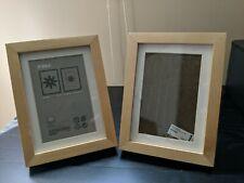 Set of 2 IKEA RIBBA 5x7 Light wood Picture Frames w/ Mat 3.5 x 5.5