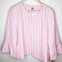 NWT Anne Klein Women's Striped Blazer Jacket Work 3/4 Bell Sleeve Size 12 $149